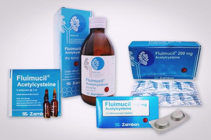 fluimucil tablet sirup cairan injeksi dan effervescent